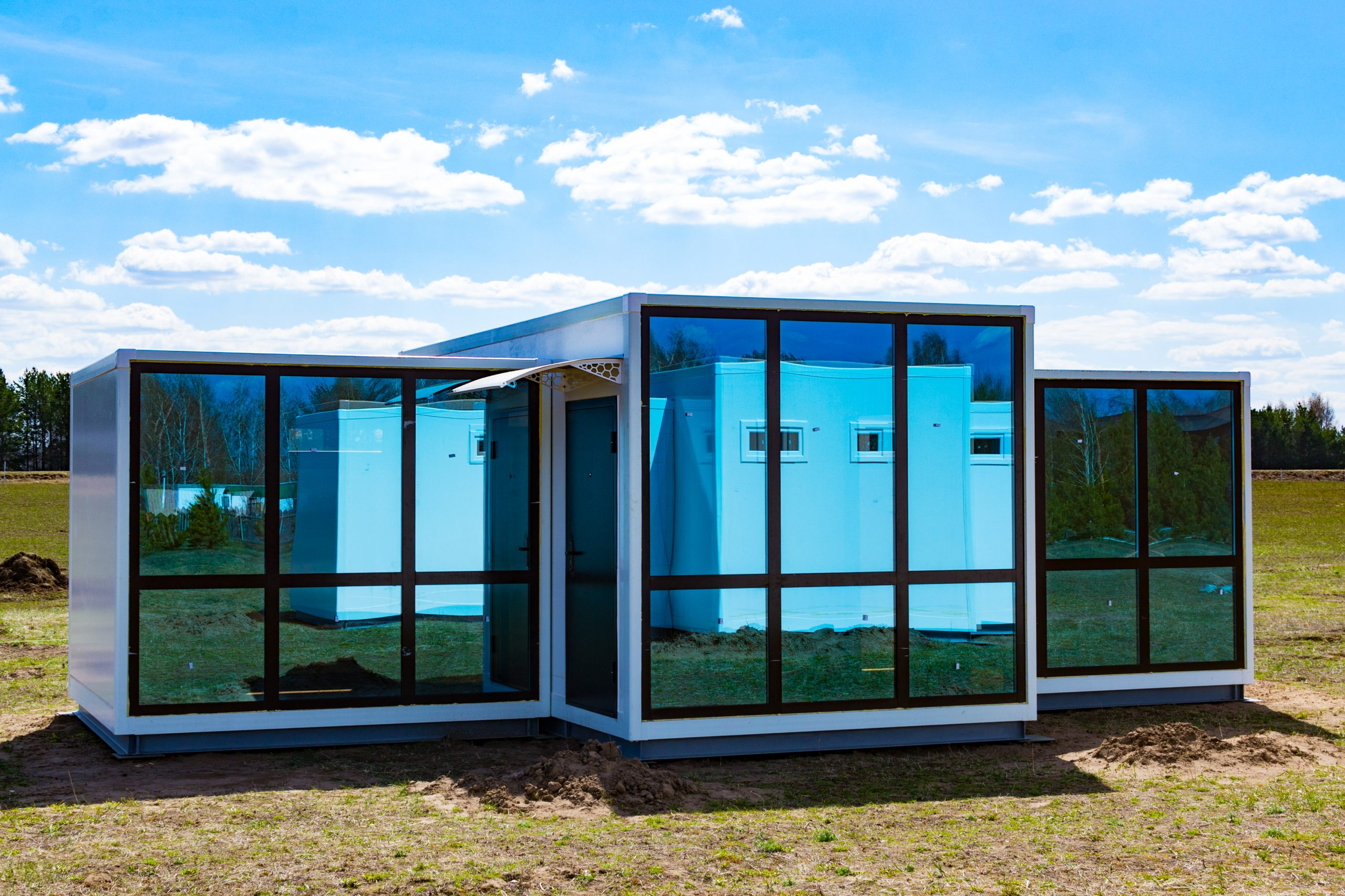 One-storey,Modular,Houses,With,Large,Panoramic,Windows.,House,Of,Sandwich